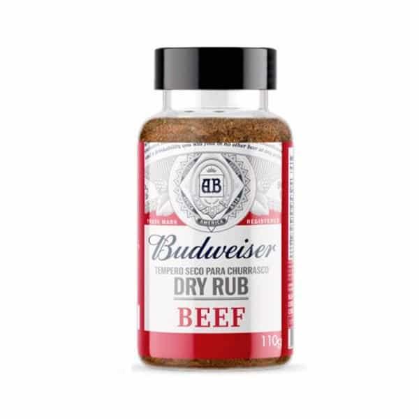 Delicioso tempero seco feito com pimenta, especiarias, malte de cevada e lúpulo. Dá às carnes bovinas um sabor especial e inigualável que só a Budweiser sabe proporcionar.